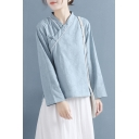 Tribal Style Women's Blouse Shirt Cotton and Linen Frog Button Contrast Stitching Surplice Neck Long Sleeves Regular Fitted Blouse Shirt