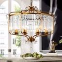 Black/Gold Drum Shaped Ceiling Hang Light Vintage Clear Crystal 5/8 Heads Pendant Chandelier