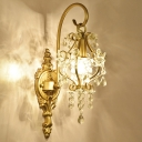 Brass Finish Scroll Wall Lighting Traditional Metal 1 Light Dining Room Wall Mount Lamp with Crystal Drop