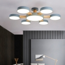 Nordic 7 Bulbs LED Semi Flush Light Grey/White/Green Flower Ceiling Mount Lamp with Acrylic Shade