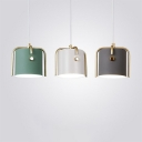 Grey/White/Green Bucket Ceiling Pendant Nordic 1 Bulb Metal Suspension Light with Cross Top Decor