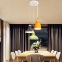 Assorted Shade Pendant Light Macaron Metal 3-Bulb White Round/Linear Canopy Multiple Hanging Lamp with Wood Cork