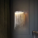 Chain Fringe Wall Light Fixture Modern Metal Silver LED Flush Mount Wall Sconce for Living Room
