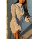 Trendy Women's Bodycon Dress Solid Color Raw Hem Detail Round Neck Long-sleeved Slim Fitted Short Bodycon Dress