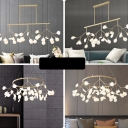 Branch Dining Room Island Lighting Acrylic 27 Heads Modern Pendant Light in Black/Gold with Clear/Cream Shade