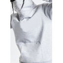 Stylish Men's Hoodie Contrast Stitching Invisible Pocket Cowl Neck Long Sleeves Regular Fitted Hooded Sweatshirt