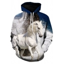 Fashion Mens Hoodie Horse 3D Pattern Long Sleeve Drawstring Pouch Pocket Loose Hoodie