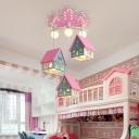 Wooden Cabin Cluster Pendant Light Cartoon 6 Bulbs Pink/Green Hanging Lamp for Childrens Bedroom