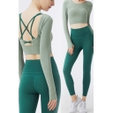 Elegant Women's Yoga Set Contrast Stitching Criss Cross Crew Neck Long-sleeved Fitted Tee Top with High Elastic Waist Ankle Length Skinny Leggings Training Co-ords