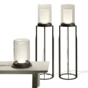 Cylindrical Small/Large Floor Lighting Designer Clear Glass Single Black Floor Lamp with Open Base