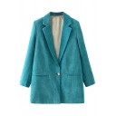 Stylish Women's Suit Jacket Solid Color Pocket Front Notched Lapel Collar Long Sleeves Regular Fitted Suit Jacket