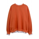 Fancy Women's Sweatshirt Letter Embroidered Round Neck Patchwork Faux Twinset Ribbed Trim Long-sleeved Relaxed Fit Sweatshirt