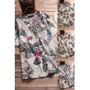 Vintage Womens Blouse Leap Printed Button Front Round Neck Short-sleeved Relaxed Fit Blouse Shirt