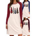 Christmas Dress Contrasted Long Sleeve Round Neck Tree Print Short A-line Dress for Women