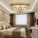 4/6/8 Lights Frosted Glass Chandelier Colonial Bronze Bowl Bedroom Flushmount/Downrod Ceiling Lamp
