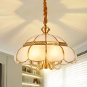 1/3/7-Bulb Pendulum Light Traditional Scalloped/Pyramid/Bell Frosted Glass Chandelier Pendant Light in Nickel
