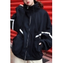 Retro Women's Jacket Reflect Light Detail Zip Placket Side Pocket Long Sleeves Loose Fitted Drawstring Stand Collar Jacket