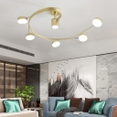 Spiral Metal Semi Flush Light Modern 4/6-Head Black/Gold LED Close to Ceiling Lamp for Living Room