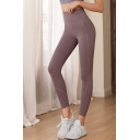 Fitness Leggings Contrast Piped High Waist Ankle Stretchy Fitted Leggings for Girls