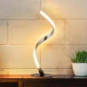 Silver Twist Table Lamp Minimalist Metal LED Night Stand Light in Warm/White/3 Color Light with 2-Prong Plug