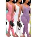 Stylish Womens Jumpsuit Solid Color Deep V-neck Ruched Ankle Skinny Tank Jumpsuit