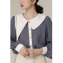 Fancy Women's Shirt Blouse Contrast Color Peter Pan Collar Long Bishop Sleeves Button Fly Regular Fitted Shirt Blouse