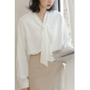 Trendy Women's Shirt Blouse Solid Color Front Front Tie Long Sleeves Regular Fitted Shirt Blouse