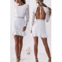 Womens Elegant Dress Sheer Lace Long Sleeve Crew Neck Open Back Ruffled Short Fishtail Dress in White