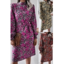 Fancy Dress All Over Floral Print Blouson Sleeve Mock Neck Bow-tie Waist Mid Shift Dress for Women
