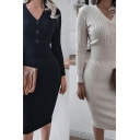 Formal Ladies Dress Solid Color Long Sleeve V-neck Button Up Ribbed Knit Mid Sheath Dress