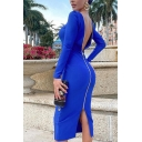 Creative Women's Bodycon Dress Solid Color Zip Back Square Neck Long Sleeves Slim Fitted Midi Bodycon Dress