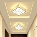 White/Gold Square Ceiling Lighting Simplicity 3/5/12w LED Crystal Flush Mounted Light in Warm/White Light/Third Gear