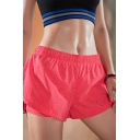 Running Shorts Solid Color Elastic Waist Breathable Patched Relaxed Shorts for Women