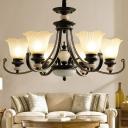 Semi-Opaque Glass Black Hanging Lamp Flower Shaped 3/6/12 Lights Rustic Chandelier Lamp