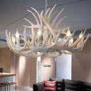 Farmhouse Antler Pendant Lighting 6/9-Bulb Resin Chandelier Lamp in White for Living Room