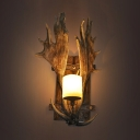 Frosted Glass Cylinder Wall Light Farmhouse 1-Light Restaurant Sconce Lighting with Antler Deco in Brown