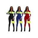 Leisure Women's Jumpsuit Contrast Panel Color Block Zip Detail Long Sleeves Slim Fitted Jumpsuit