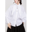 Leisure Women's Shirt Solid Color Button Detail Point Collar Chest Pocket Long Bishop Sleeves Regular Fitted Shirt