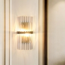 Clear Crystal Pillar Sconce Lighting Postmodern 2 Bulbs Gold Flush Mount Wall Light