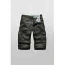Cool Mens Shorts Solid Color Zip Fly Button Knee Length Straight Fit Cargo Shorts with Flap Pockets