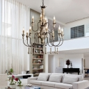 6/12 Lights Candelabrum Chandelier French Country Distressed Wood Metal Hanging Light Fixture
