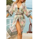Womens Jacket Trendy Leaf Pattern Striped-Trim Regular Fitted Tie Open Front Half Sleeve Knee Length Beach Cover up Jacket
