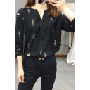 Fancy Women's Blouse Figure Print Button-down Long Sleeves Collarless Regular Fitted Shirt Blouse