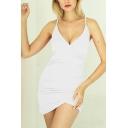 Fancy Women's Bodycon Dress Plain Ruched Design Asymmetrical Hem Surplice Neck Spaghetti Strap Sleeveless Slim Fitted Short Bodycon Dress
