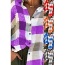 Fancy Women's Blouse Shirt Color Block Plaid Pattern Button-down Spread Collar Long-sleeved Loose Fitted Tunic Shirt