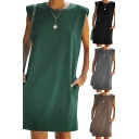 Leisure Women's Tank Dress Heathered Crew Neck Side Pockets Sleeveless Shoulder Pad Regular Fitted Tank Dress
