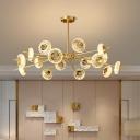 8/12/16-Light Suspension Pendant Postmodernist Circular Crystal Hanging Chandelier in Brass