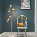 3 Lights Living Room Reading Floor Lamp Postmodern Brass Standing Light with Hourglass Metal Shade