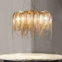 Postmodern Glam LED Chandelier Silver/Gold Circular Tassel Hanging Ceiling Light with Aluminum Shade
