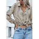 Apricot Fashion Leopard Print Long Sleeve Spread Collar Button-up Regular Fit Shirt for Ladies